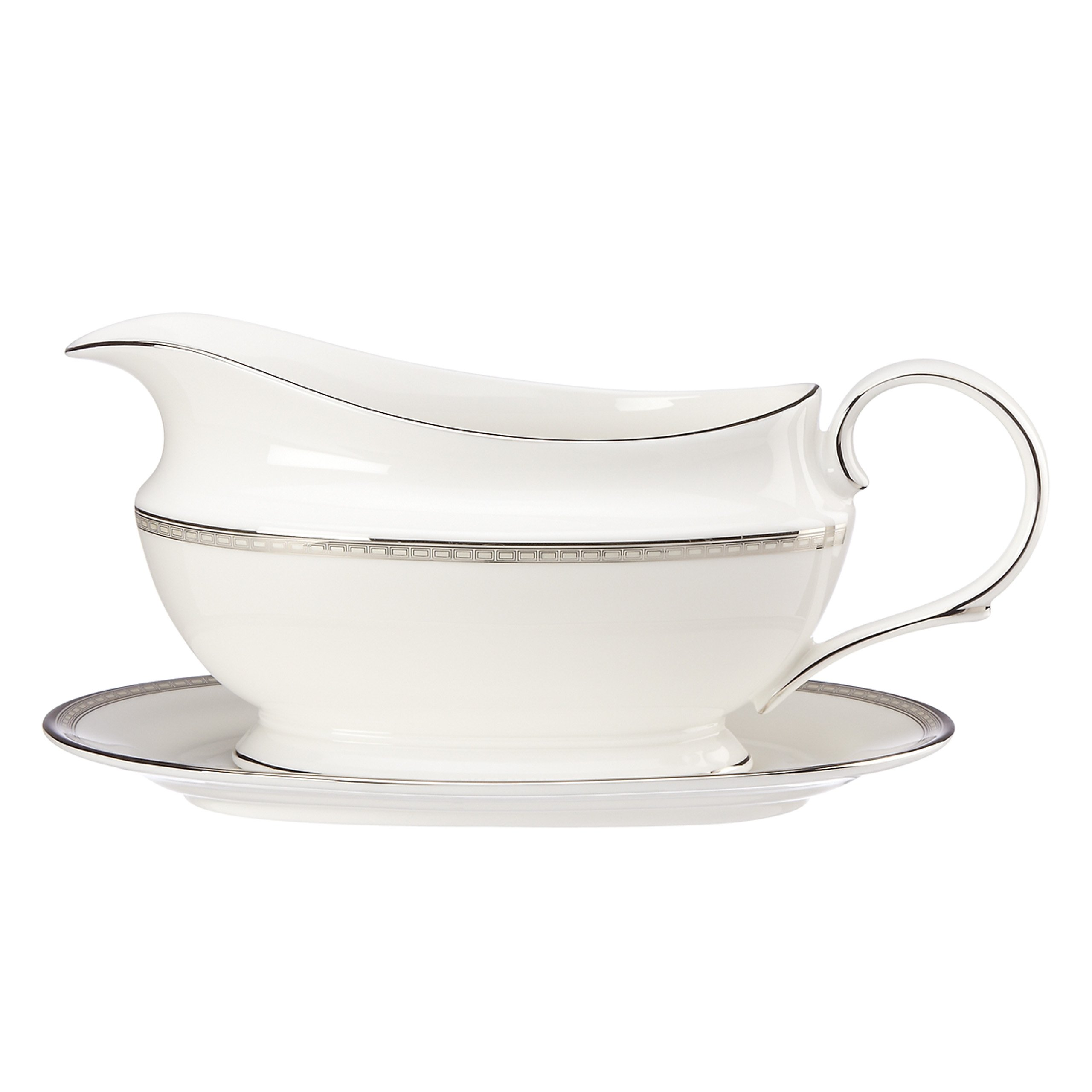 Lenox Murray Hill Sauce Boat and Stand, White by Lenox