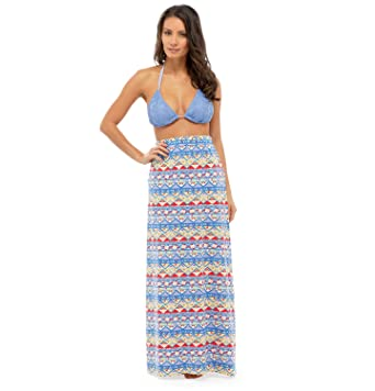 9ce909b47a Image Unavailable. Image not available for. Color: Tom Franks Ladies  Beachwear Aztec Print Polycotton Fashion Maxi ...