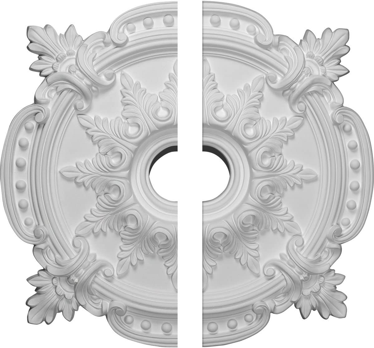 """Ekena Millwork CM28BE2 Benson Classic Ceiling Medallion, 28 3/8""""OD x 3 3/4""""ID x 1 5/8""""P (Fits Canopies up to 6 1/2""""), Factory Primed"""