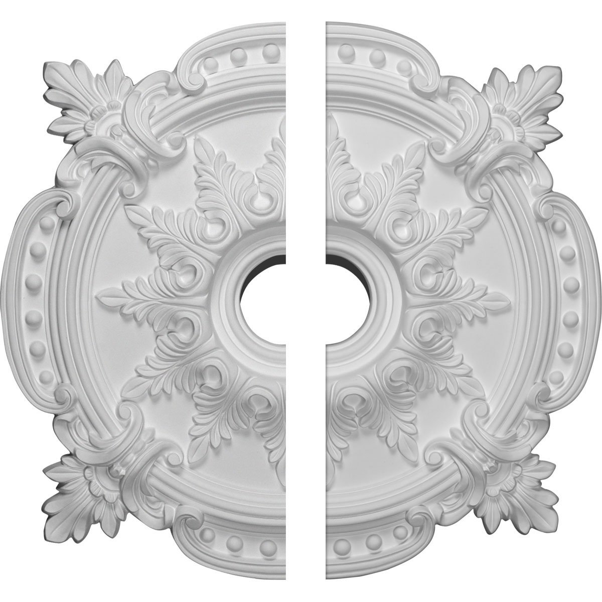 Ekena Millwork CM28BE2 Benson Classic Ceiling Medallion (Fits Canopies up to 6 1/2''), Hand Painted, 28 3/8''OD x 3 3/4''ID x 1 5/8''P, Factory Primed White