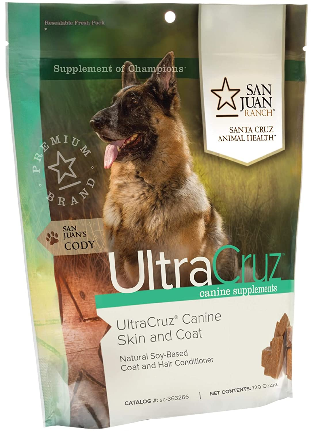 UltraCruz Canine Skin and Coat Plus Supplement for Dogs, 120 Tasty Chews