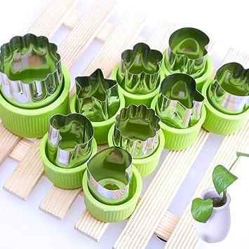 fittoway acero inoxidable verduras frutas cortador formas Set de 9 cortadores de galletas Mini farfalle molde para niños lindo para divertido alimentos: ...
