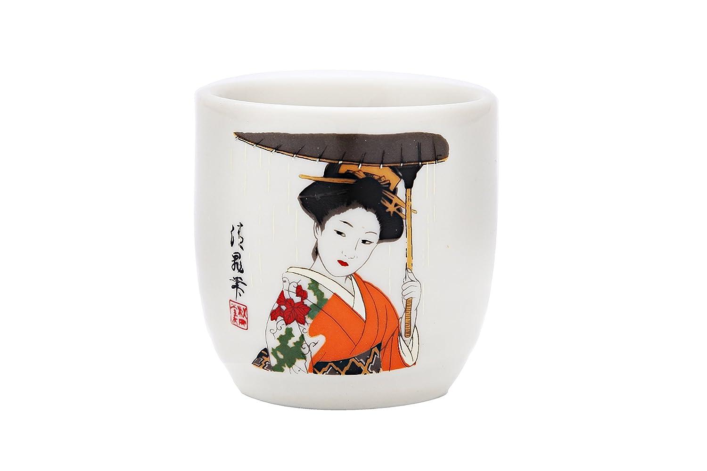 JAPANESE SAKE SETS BOTTLE and 2PCS SAKE CUPS Kimono Woman