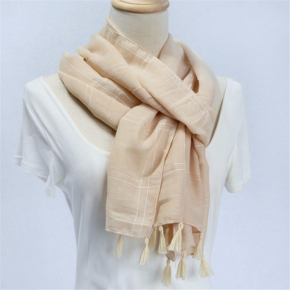 Larga Bufanda Bufanda doble uso bufandas de algodón de primavera y ...