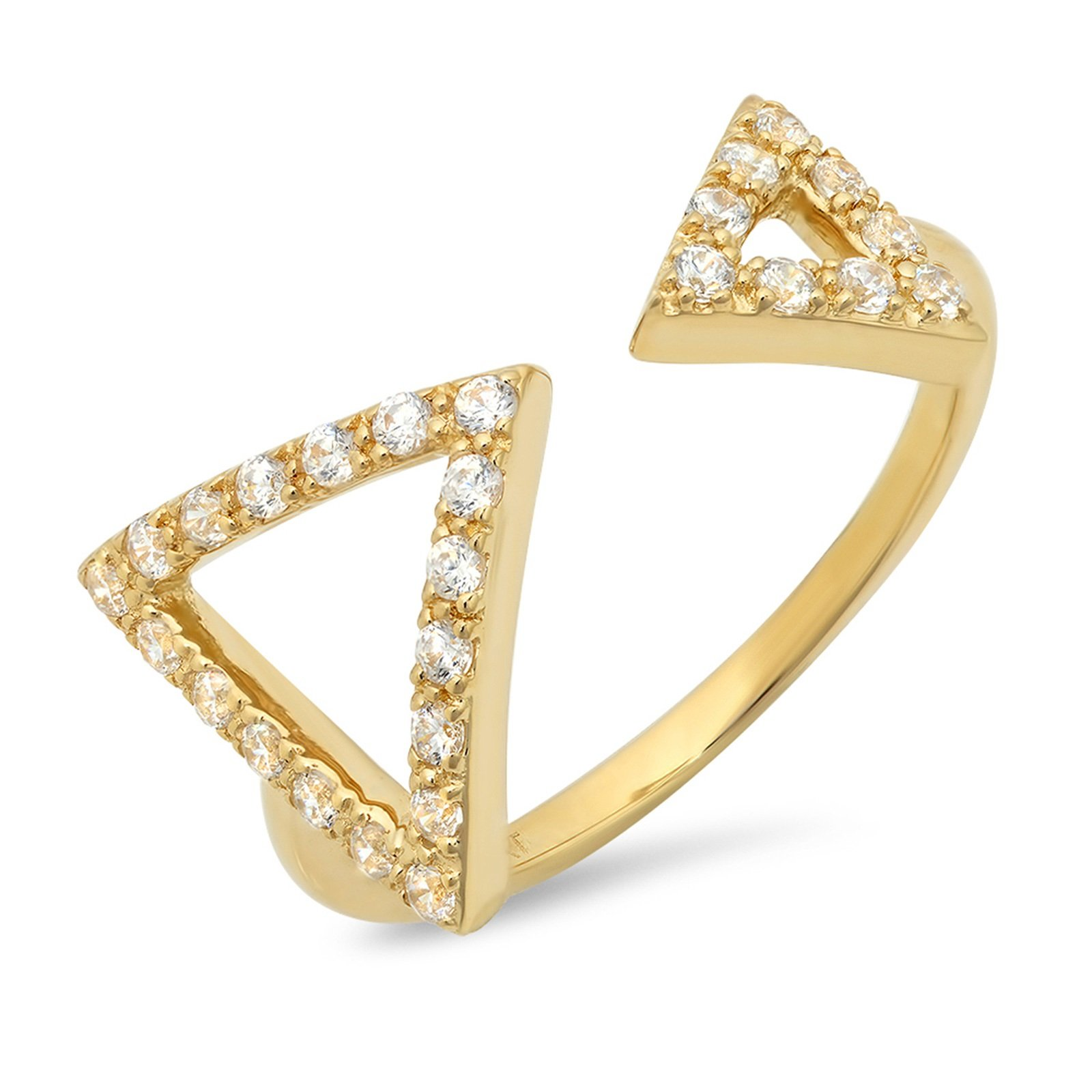 Clara Pucci 0.16ct Round Cut Pave Engagement Contemporary Arrow Design Ring Band 14k Yellow Gold, Size 10.25 by Clara Pucci