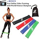 Resistance Loop Bands Set of 4 PrimaFit Premium Exercise Bands for Women and Men Light to Extra Heavy Best for Home and Outdoor Fitness Workout Gym Yoga Pilates Physical Therapy Rehabilitation Made Of Natural Latex Material Carry Bag Included