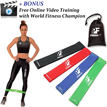 bdfa5684a8 PrimaFit Resistance Loop Bands Set of 4 Premium Exercise Bands for Women  Men Legs Glutes Light