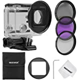 Neewer® 52MM Filter Kit for Gopro Hero 3+/4,Kit includes: (3)Filters (UV + CPL+ FLD) + (1)52mm Lens Filter Ring Adapter + (1)Microfiber Cleaning Cloth + (1)Filter Carrying Pouch