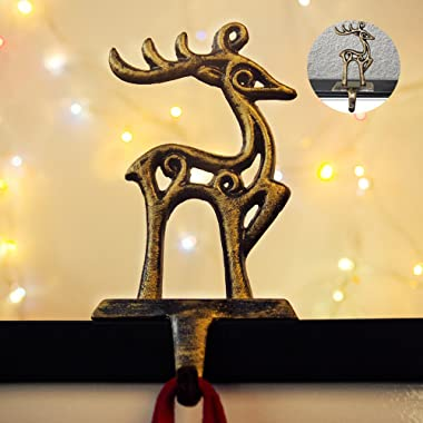 Fannybuy Christmas Stocking Holder Hangers Metal for Fireplace Mantle Free Standing Christmas Decorations Indoors Deer Snowman Sata Snowflake Xmas Decorations (deer)
