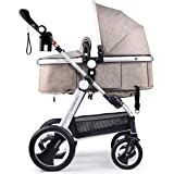 Cynebaby Newborn Baby Stroller for Infant and Toddler City Select Folding Convertible Baby Carriage Luxury High View Anti-shock Infant Pram Stroller with Cup Holder and Rubber Wheels (Linen Khaki)