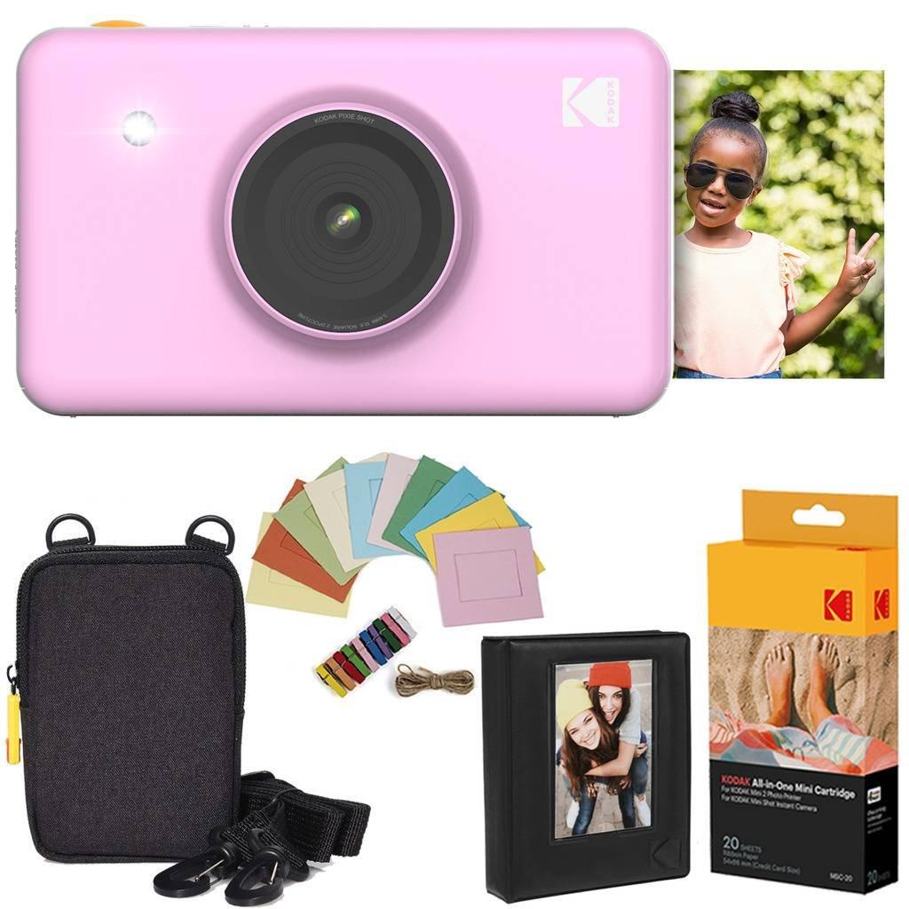 Kodak Mini Shot Appareil Photo instantané (Rose) Offre Prestige + Papier (20Feuilles) + étui de Luxe + Album Photo + Cadres Suspendus AMZ-KODMSK2PK