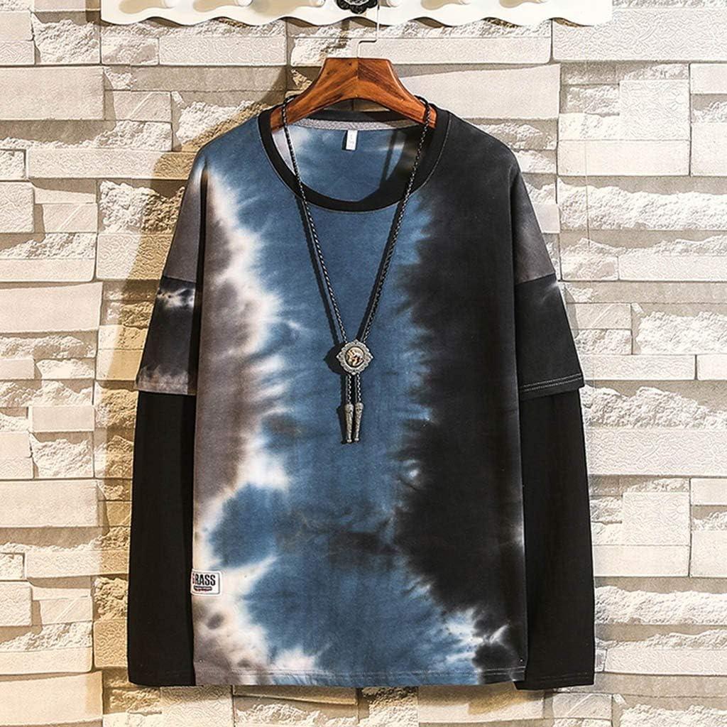 Mens Long Sleeve Casual Loose Hoodie Tie Dye Sweatshirt Pullover Comfortable Tops for Autumn