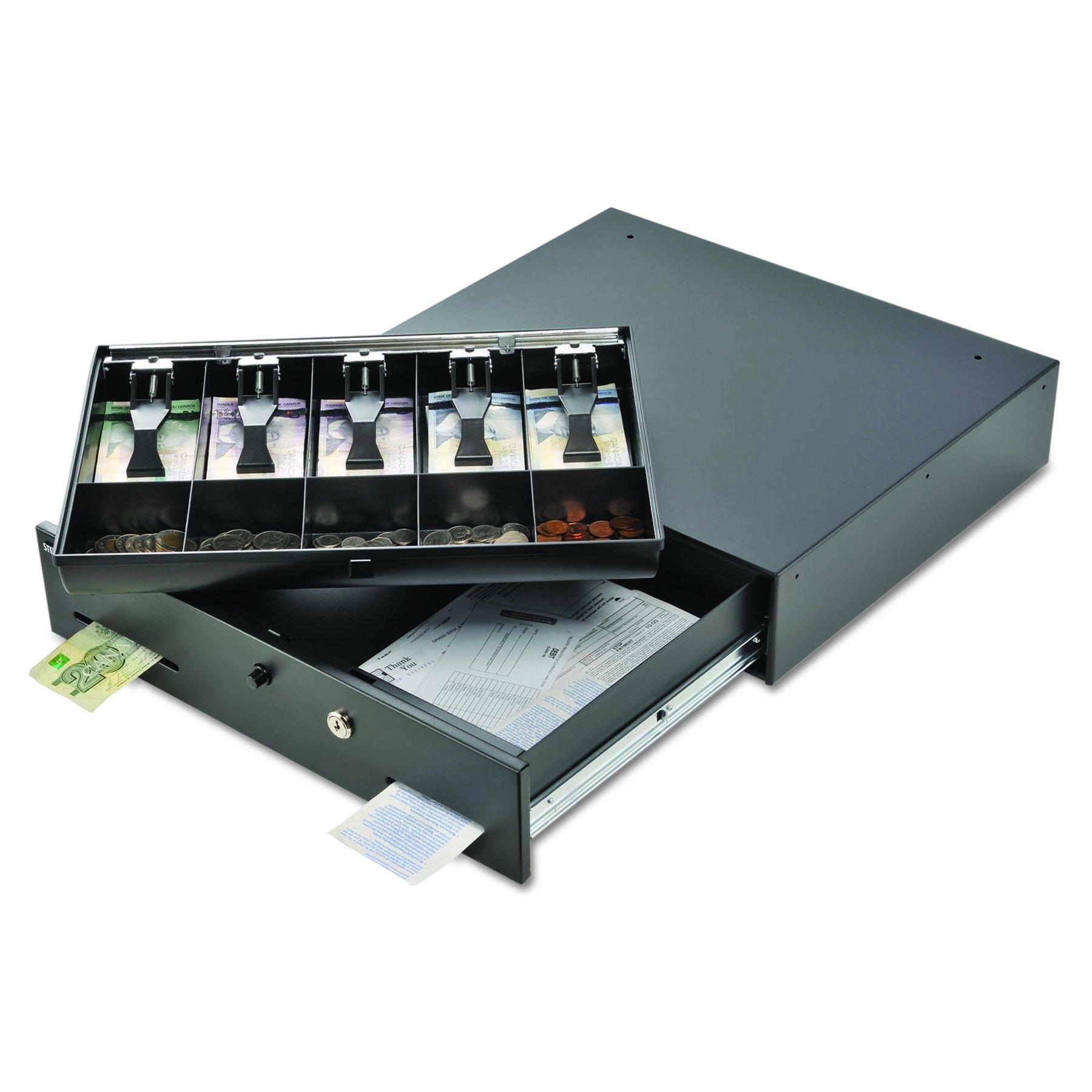SteelMaster 225106001 Alarm Alert Steel Cash Drawer w/Key & Push-Button Release Lock, Black