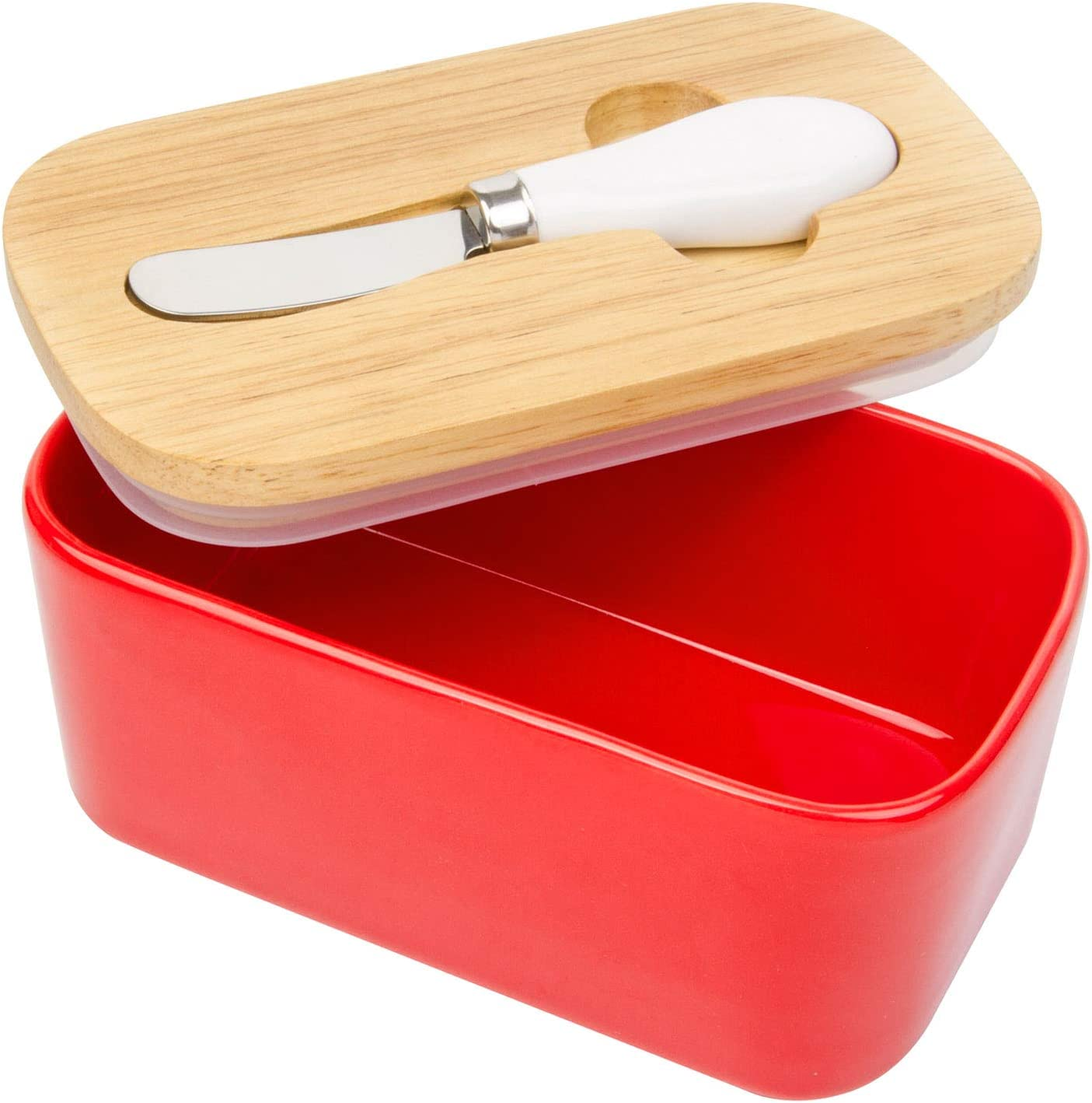 Arswin Butter Dish with Lid, LARGE 650ml Porcelain Keeper with Bamboo Cover & Stainless Steel Knife, Container Holds 2 Butter Sticks for Countertop Refrigerator, Easy Clean Butter Storage Dish (Red)