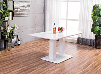 New Imperia White High Gloss Dining Table Set And 6 Chrome Faux ...