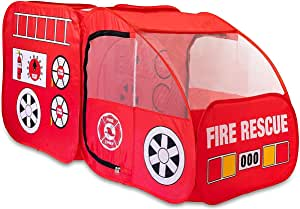 Fire Truck Tent for Kids, Toddlers, Boys & Girls - Red Fire Engine Pop Up Pretend Playhouse for Indoors & Outdoors - Quick Set Up, Weather Proof Fabric, Foldable & Spacious