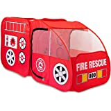 Fire Truck Tent for Kids, Toddlers, Boys & Girls – Red Fire Engine Pop Up Pretend Playhouse for Indoors & Outdoors – Quick Se