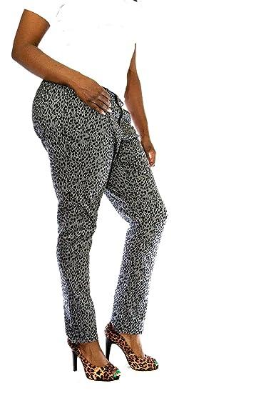 ab870a21b9b Jeans Colony Women s Plus Size Leopard Cheetah Animal Print Stretch Twill Jeans  Skinny Pants (14