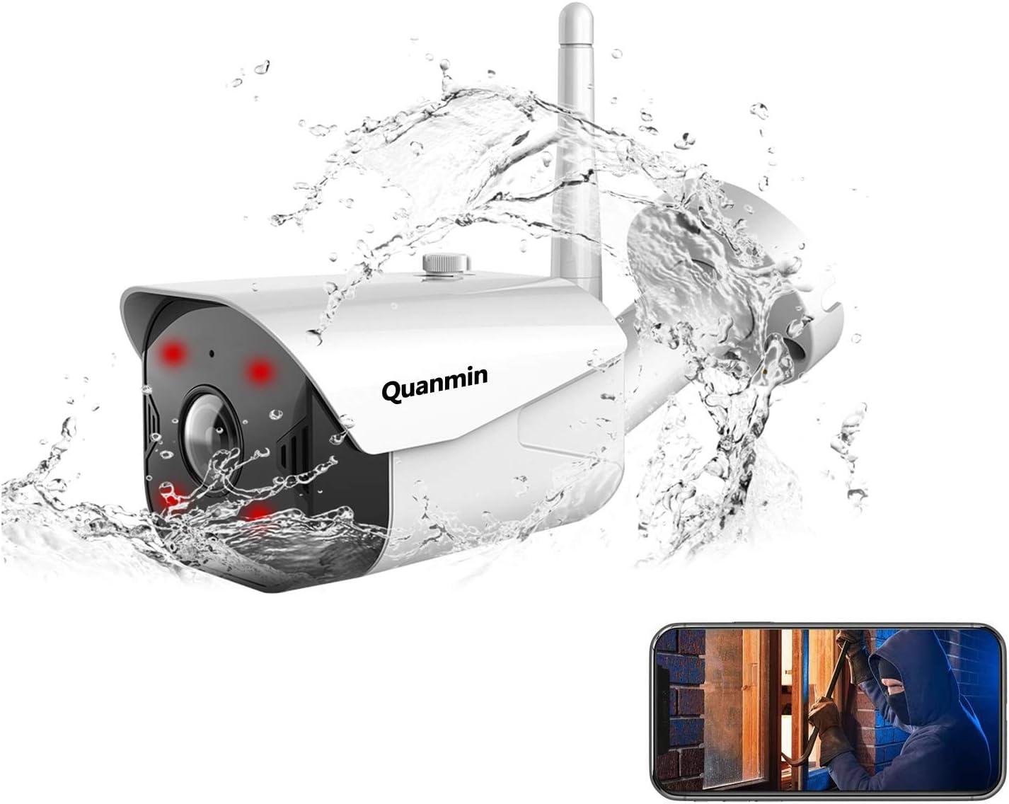 Quanmin Security Camera Smart Cloud Storage WiFi 1080P IP Camera Outdoor IP66 Waterproof Infrared Night Vision Two Way Audio Motion Detection Night Vision Work Alexa Home Surveillance CCTV Camera