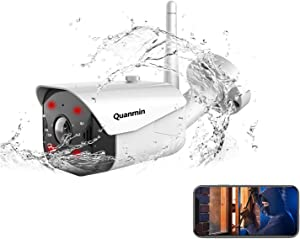Quanmin Security Camera Smart Cloud Storage WiFi 1080P IP Camera Outdoor IP66 Waterproof Infrared Night Vision Two Way Audio Motion Detection Night Vision Work Alexa Home Surveillance CCTV Camera