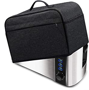 INMUA Toaster Cover for 4 Slice Long Slot (15.5 x 7.5 x 8 inches),Toaster Appliance Cover with Pockets, Dust and Fingerprint Protection (Black)