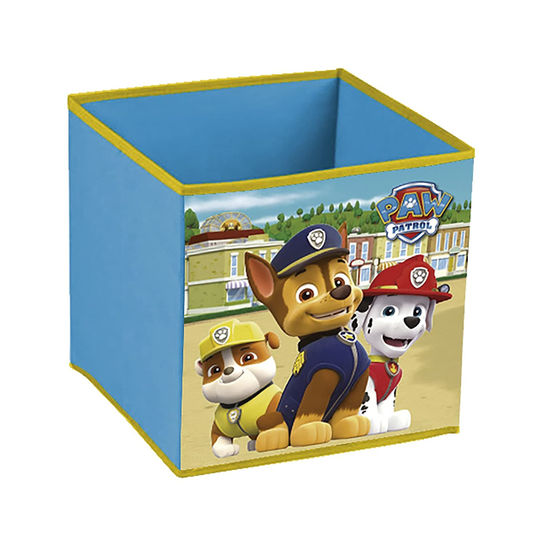 Paw Patrol La Patrulla Canina - Cubo contenedor Chase, Marshall y Rubble. Pongotodo guarda juguetes Nickelodeon PW12118