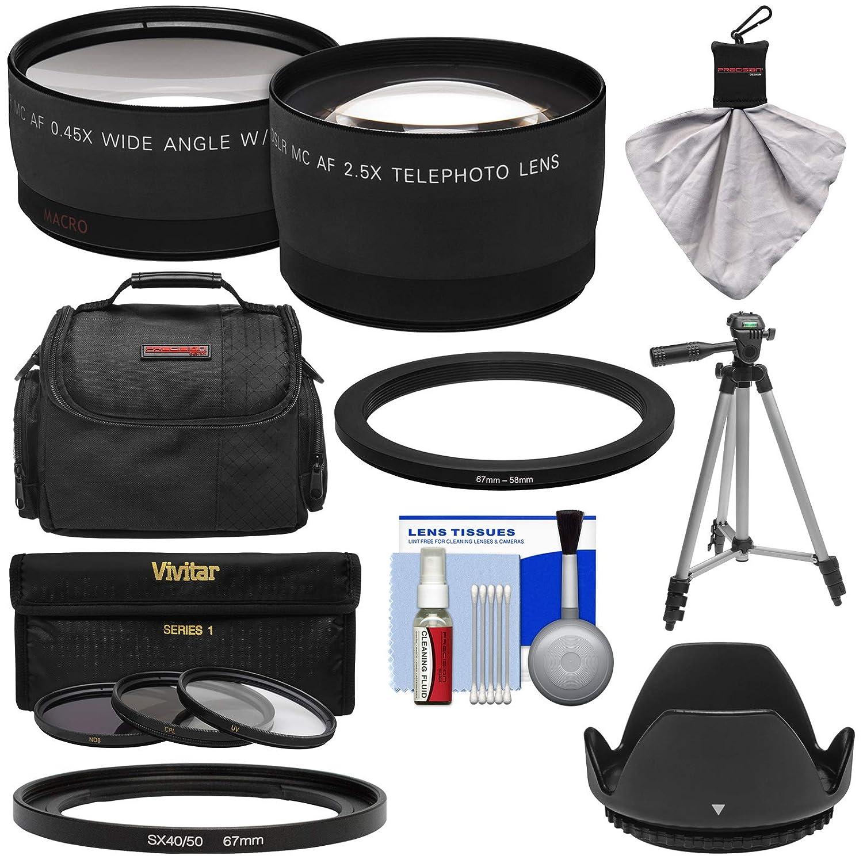 Bower fa-dc67 aアダプターリングfor Canon PowerShot sx530、sx540 & sx60 HSカメラ+ 0.45 X広角2倍望遠レンズ+ 3 UV / nd8 / CPLフィルタ+フード+ケースキット   B005V2GFAQ