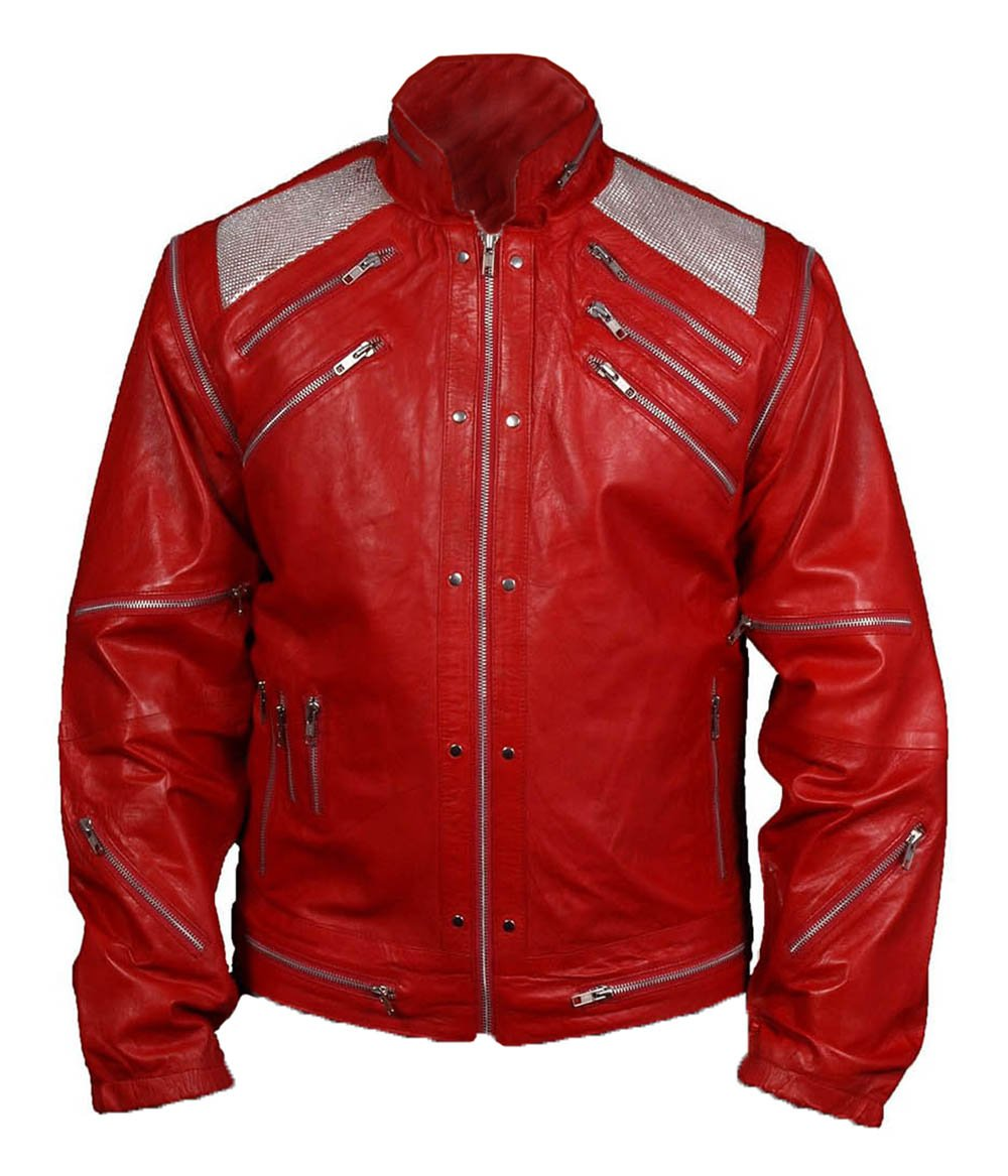 MSHC Men's Michael Jackson Beat It Faux Leather Jacket Medium Red