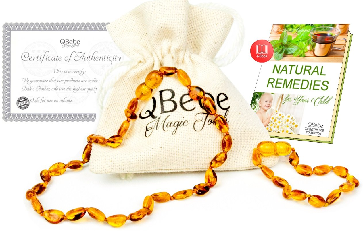 Amber Teething Set - QBebe - Amber Teething Necklace plus Bracelet/Anklet for Babies (Honey) - Fit for Moms too - Certificated Baltic Amber - Teething Pain Reduce and Anti Inflammatory by QBebe