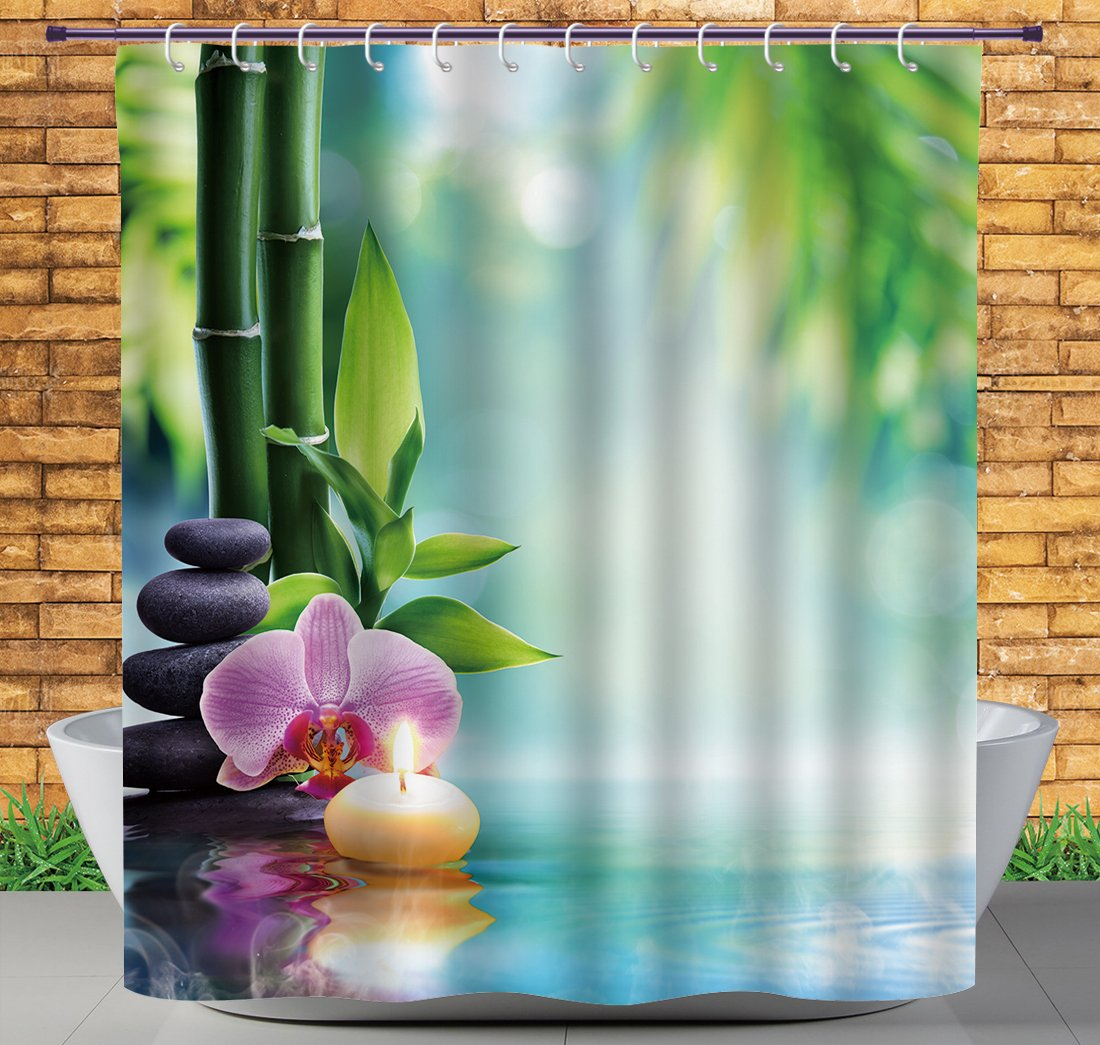 iPrint Hotel Quality Shower Curtain by, Spa Decor,Symbolic Spa Features With Candle And Bamboos Tranquil And Thoughtful Life Culture Nature Print,Multi,Fabric Bathroom Decor Set with Hooks,84 Inches
