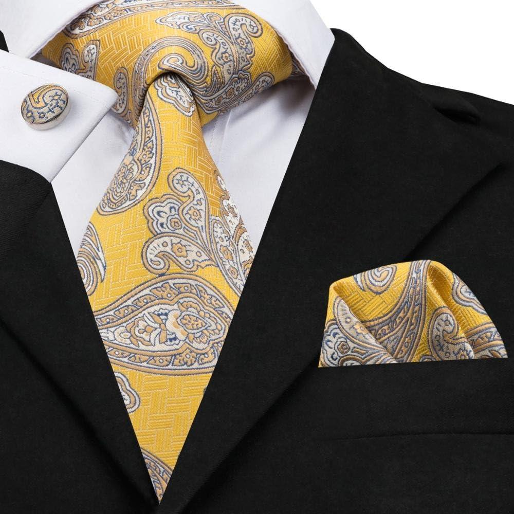 Paisley Ties for Men 100/% Hand-Made Silk Tie Hanky Cufflinks Pocket Square Jacquard Woven