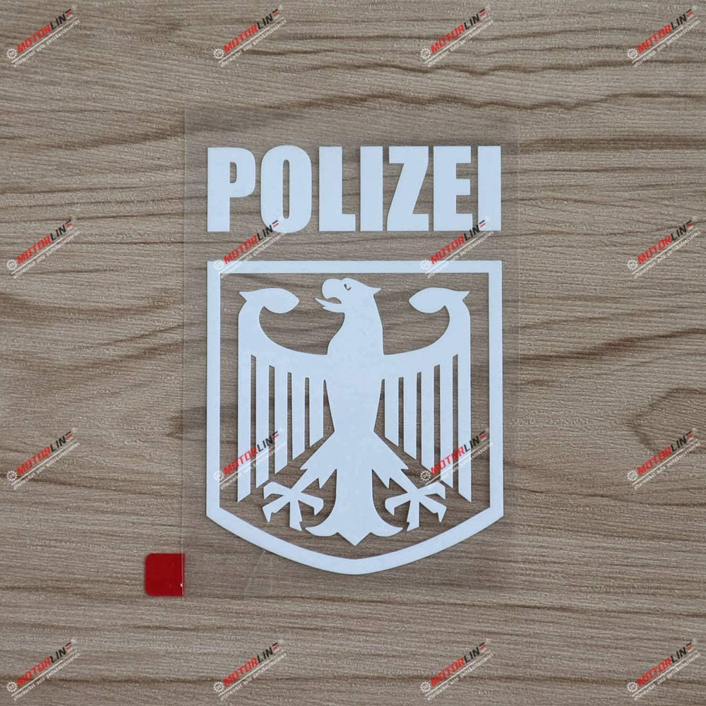 4 White Polizei Decal Sticker Deutschland German Police Eagle Germany