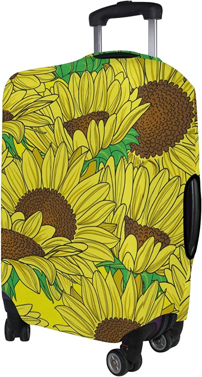 LAVOVO Yellow Sunflowers Luggage Cover Suitcase Protector Carry On Covers