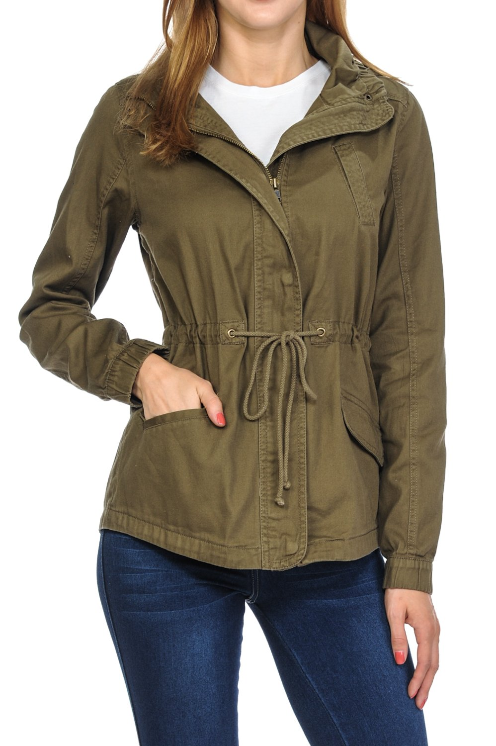 Women's Premium Vintage Wash Lightweight Military Fashion Twill Hoodie Jacket Olive M by Auliné Collection