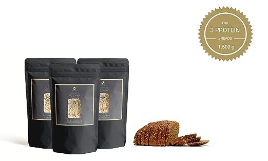 Mezcla para hornear pan de proteínas Sin Carb 3x200g. con 20% de contenido proteico | Sin carbohidratos | Sin cereales | Sin gluten | Para Paleo, Keto, ...