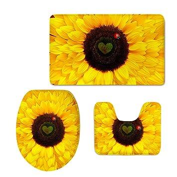 HUGSIDEA Sunflower Pattern 3 Piece Non Slip Bathroom Rug Set Bath Mat +  Contour Rug