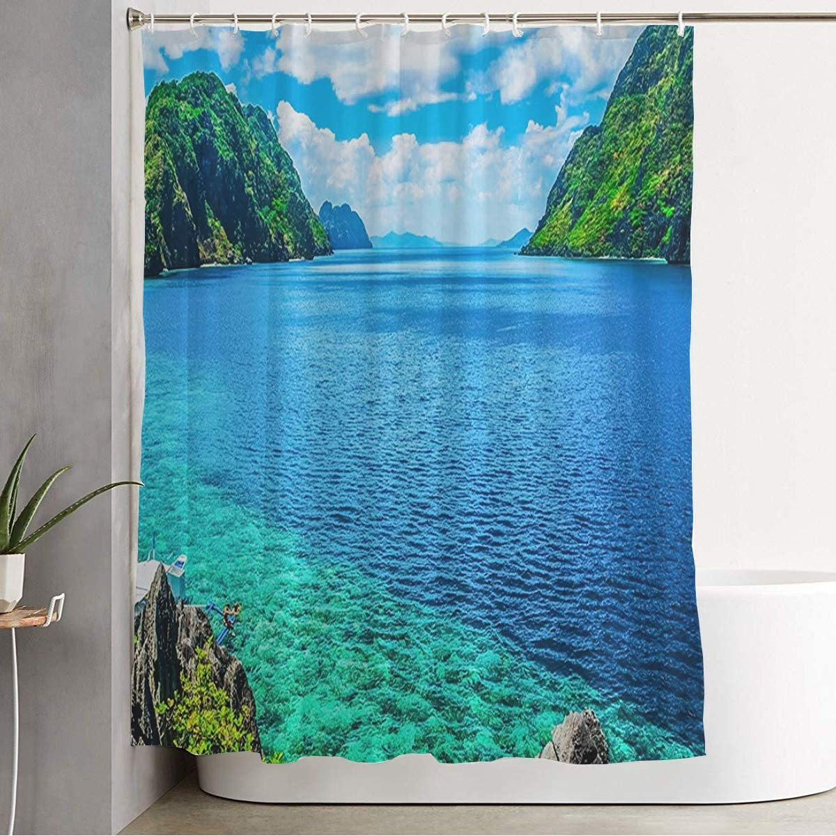 Shower Curtain Scenic View Natural Bay Seascape Mountain Islands Nature Philippines Parks Cliff Paradise Outdoor Home Bathroom Decor Polyester Fabric Waterproof 72 x 78 Inch Set with Hooks
