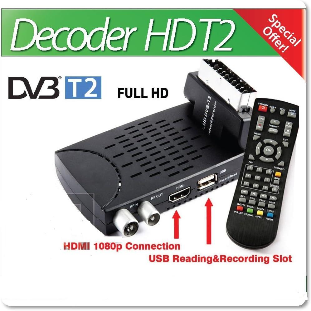 B-black® - Decodificador digital terrestre HD T2, estándar 2018, USB, euroconector flexible, 1080P, HDMI, con mando a distancia: Amazon.es: Electrónica