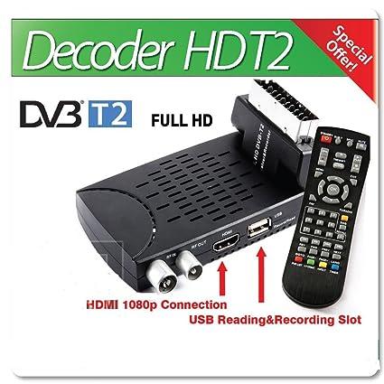 Riproduzione Multimedia HD DVB-T2 con Funzione PVR e Timer Decoder Digitale Terrestre HEVC Collegamento HDMI e Scart DVB-T2-261 Elettronica Danystar®