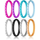 ROQ Silicone Wedding Ring for Women, Affordable Thin Stackable Silicone Rubber Wedding Bands, 8, 4 & Single Packs