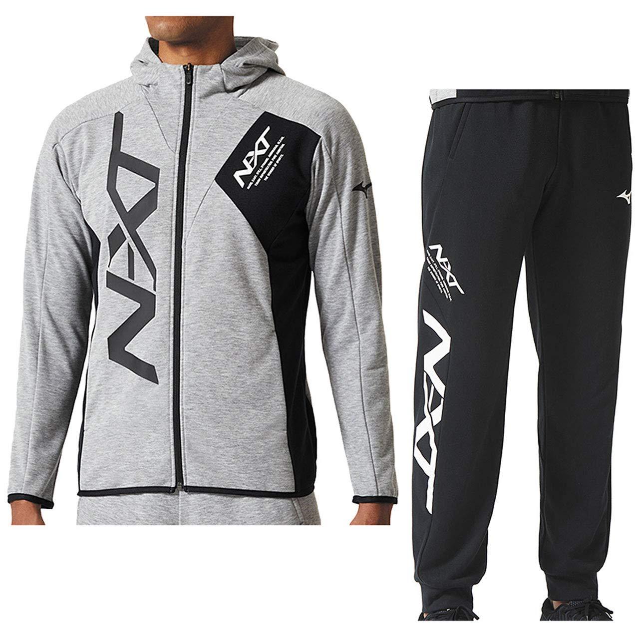 ミズノ(MIZUNO) N-XT スウェットシャツ & パンツ 上下セット(グレー杢/ブラック) 32JC8561-05-32JD8560-09 2XL 杢グレー/ブラック B07HGWSH6T
