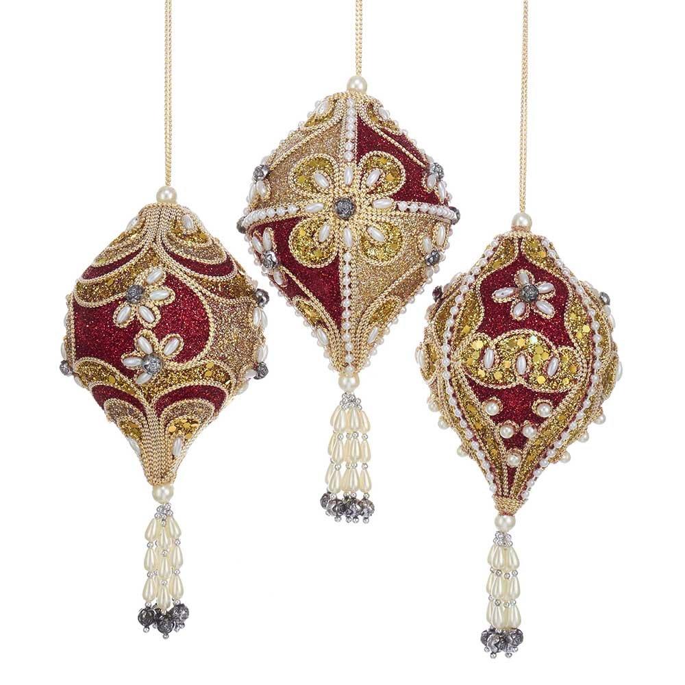 Kurt Adler Cranberry Set of 3 Finial Ornaments 3 Piece