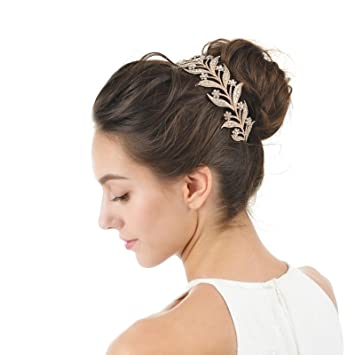 Amazoncom AW BRIDAL Crown Headband Crystal Wedding Headband Rose