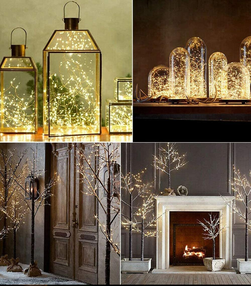 Led Firefly Bunch Lights 200 Leds Waterproof Copper Wire Decorative Lights Micro Starry Light For Outdoor Indoor Wedding Party Christmas Hallown Decorations Warm White 4aa Battery Amazon Ca Home Kitchen