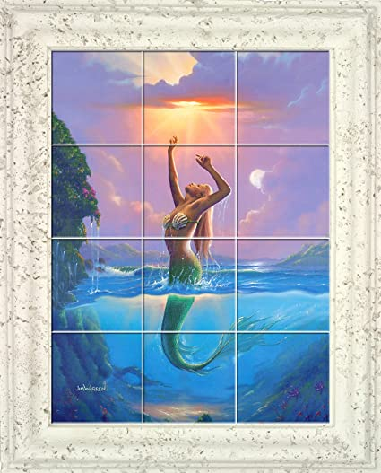 Mermaid Reach For The Sun UV Framed Ceramic Tile Mural X - Ceramic tile murals for outdoors