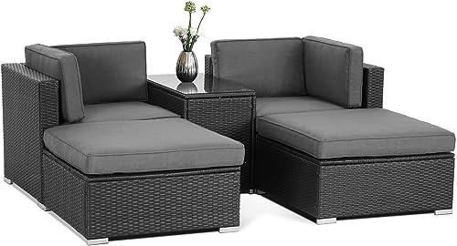SUNCROWN Outdoor 5 Piece Patio Lounge Chair Ottoman Furniture Set