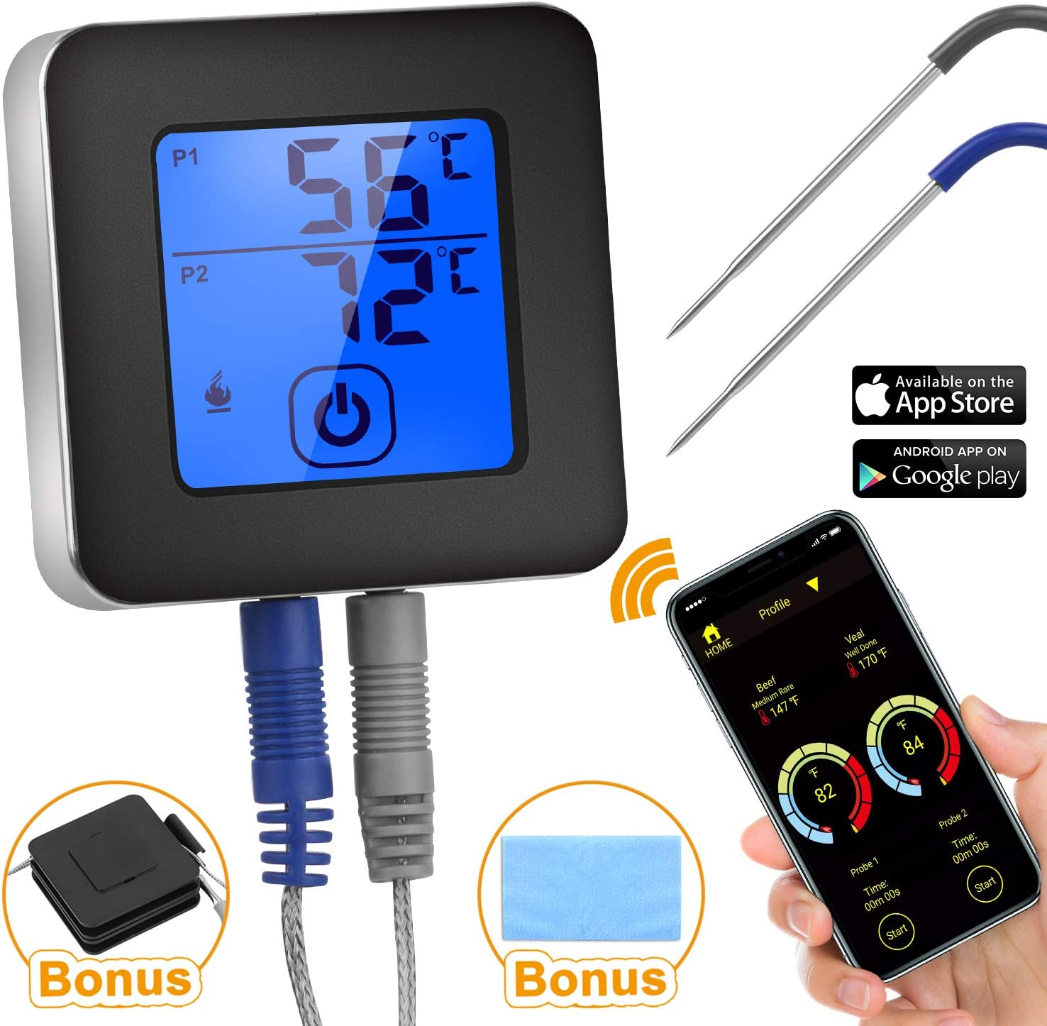 Remote Meat Thermometer with 2 Probes 4 Cooking Target and 9 Meat Cooking Mode Included Grease Clean Bonus Instant Read Stove Thermometer for Grilling Smoker