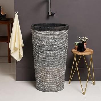 Waschbecken freistehend naturstein  WOHNFREUDEN Marmor Stand-Waschbecken 50x35x90 cm ✓ groß oval anth ...