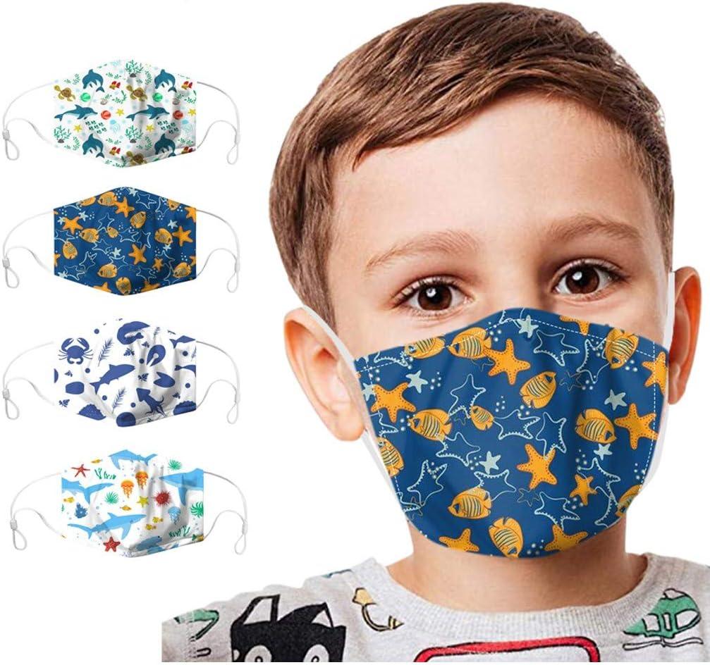 XCVBX 4PC Visage/_Masque Unisexe Enfants Filles Gar/çons Bandana Visage Imprim/é 3D Respirable Lavable en Plein Air