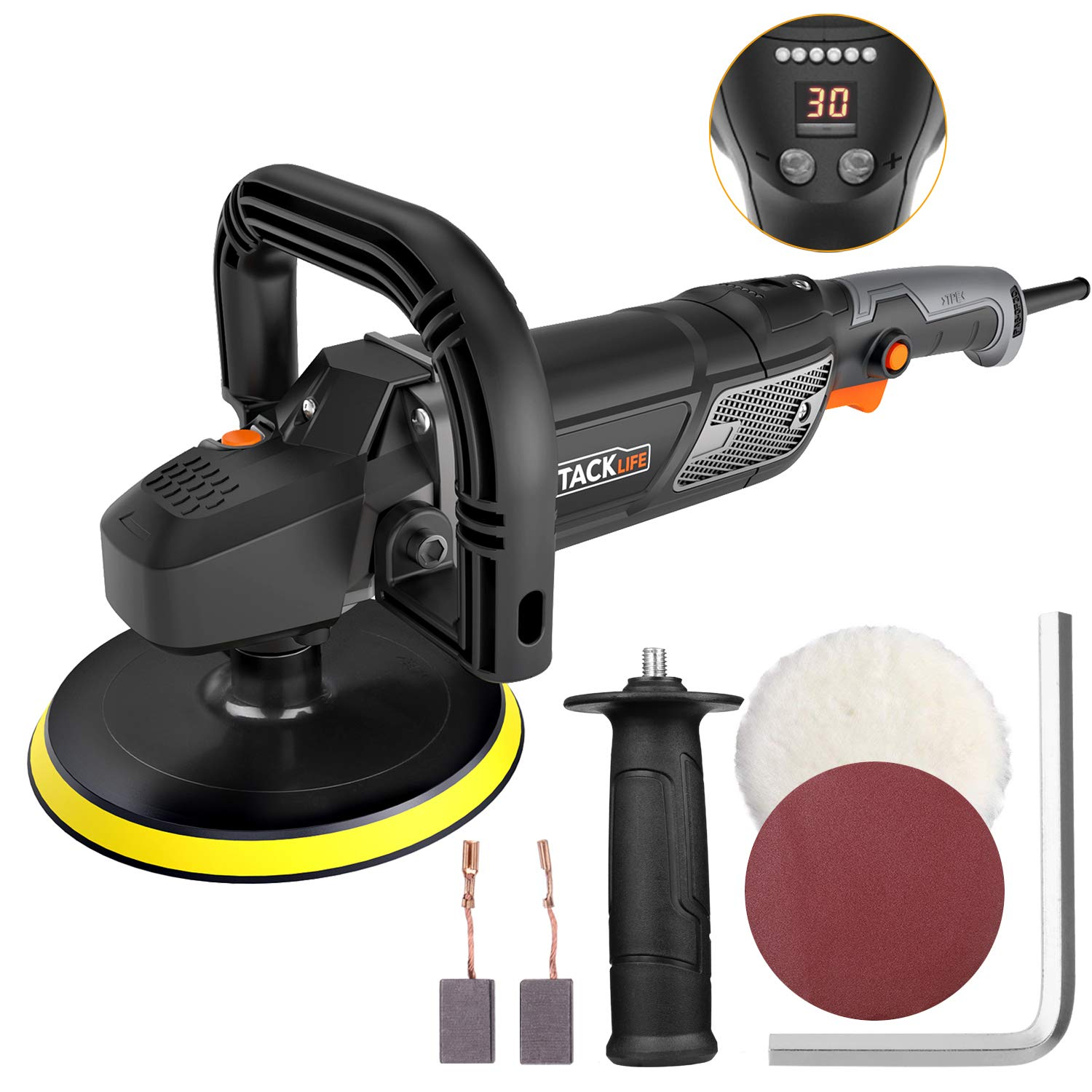 "Polisher, Tacklife 7""/9"" 12.5Amp 1500W Variable Speed Buffer/Waxer with Digital Screen & LED Indication, Soft Start, 10Ft Power Cord, Detachable Handles, Sanding & Wool Disc, Ideal for Car Polishing"